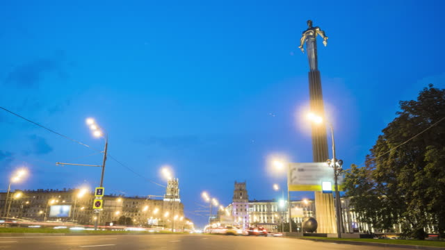 City square with monument to Yuri Gagarin
