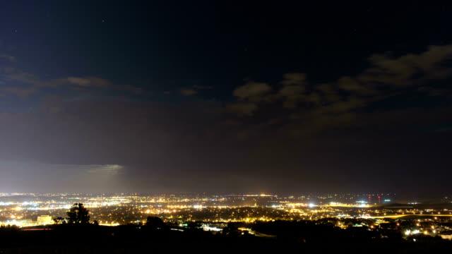city storms at night, timelapse - south dakota stock-videos und b-roll-filmmaterial