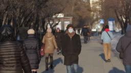 City street. Europe infected corona virus 2019 ncov. European man. Mask covid-19