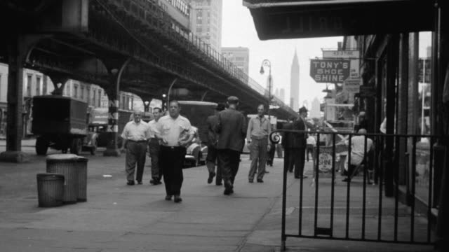 ms city street, people walking up and down sidewalk and elevated train on left / new york, united states - elevated train stock videos & royalty-free footage