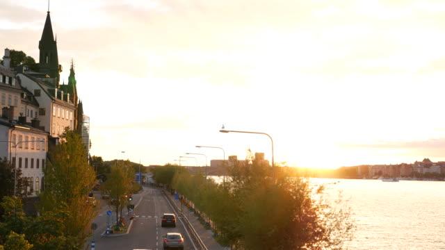 City street sunset traffic