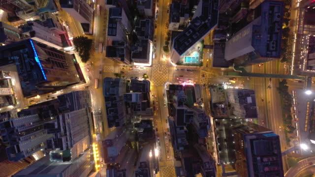 stadtstraße top-ansicht in der nachtzeit - major road stock-videos und b-roll-filmmaterial