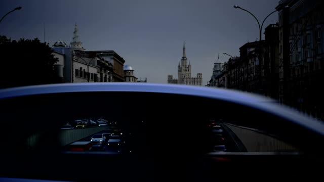 città strada con traffico di mosca - russia video stock e b–roll
