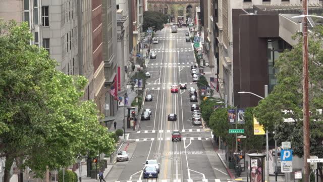 city street with no traffic - california street san francisco stock videos & royalty-free footage
