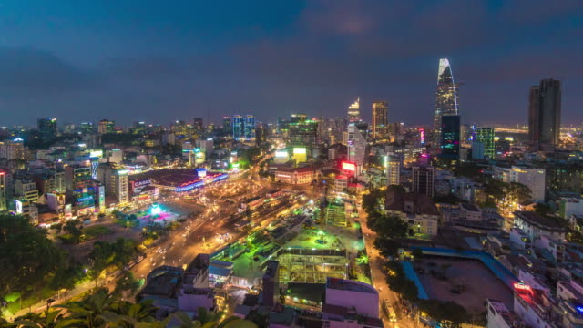 City Timelapse at Night with Traffic at Roundabout, Ho Chi Minh City, Vietnam