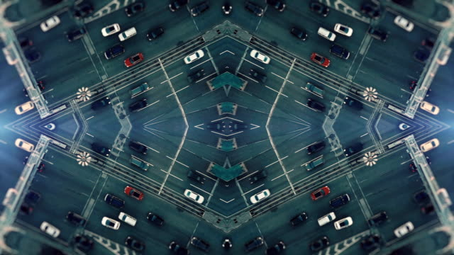 city traffic. aerial background. mirror effect - symmetry stock videos & royalty-free footage