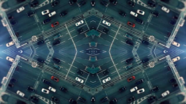 vídeos y material grabado en eventos de stock de tráfico de la ciudad. fondo aéreo. efecto espejo - lapso de tiempo de tráfico
