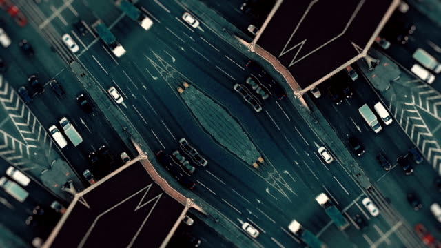 City Traffic. Aerial Background. Mirror Effect