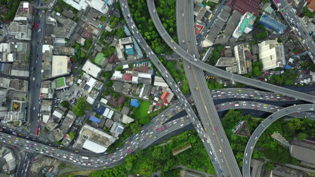 4K : city traffic aerial Highway