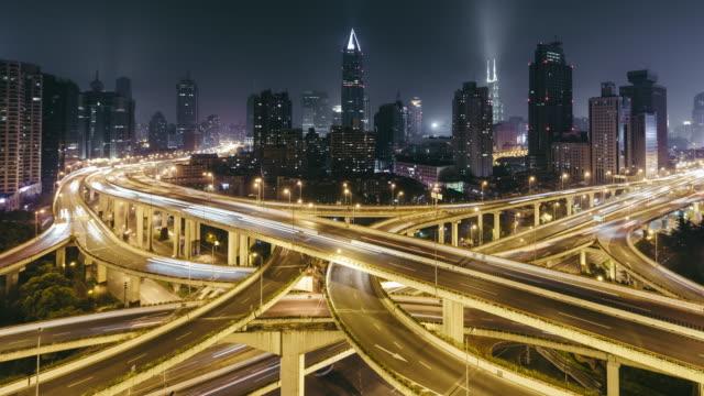 T/L WS HA PAN City Traffic and Intersection at Night / Shanghai, China