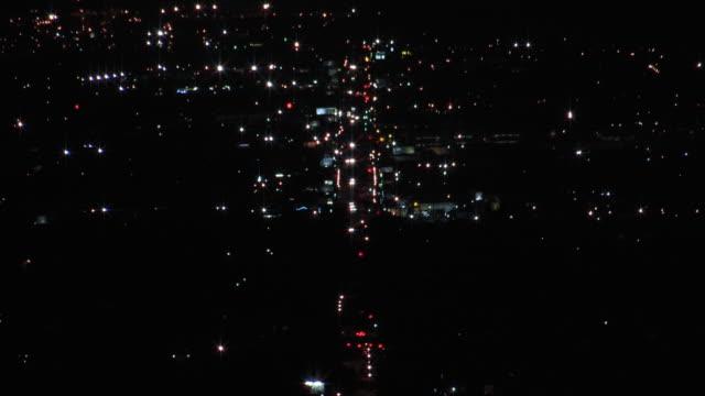 city traffic at night (hd aerial) - sherman oaks stock videos & royalty-free footage