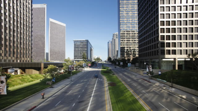 City traffic Century City in the Media district of Los Angeles, California, United States of America, Time-lapse