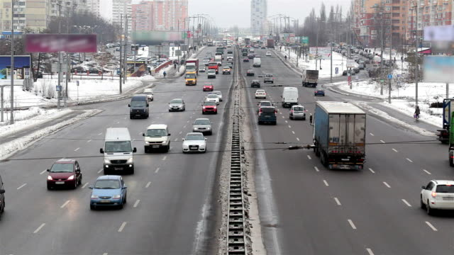 city traffic in kiev. ukraine. - van vehicle stock videos and b-roll footage