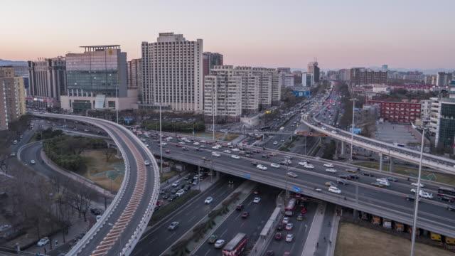 T/L WS HA TU Stadtverkehr von Peking bei Sonnenuntergang / Peking, China