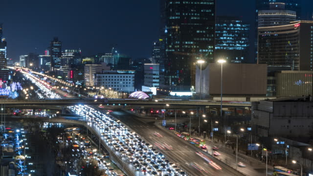T/L MS HA PAN City Traffic of Beijing in Central Business District at Night / Beijing, China