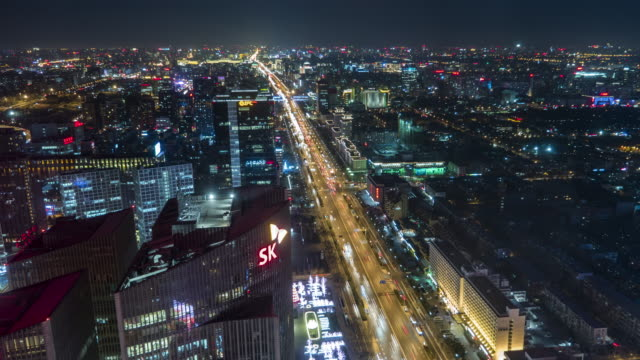 t/l ws ha pan city traffic of chang'an avenue at night / beijing, china - avenue stock videos & royalty-free footage