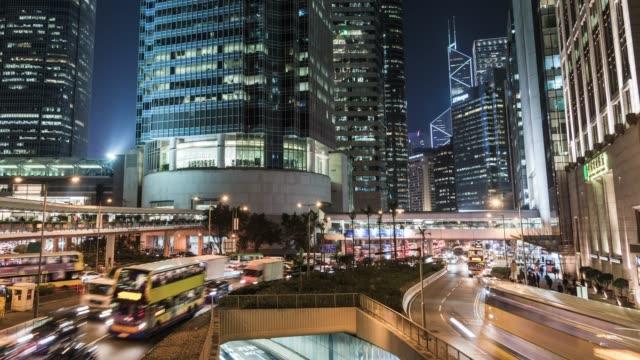 t/l ws ha pan city traffic of hong kong at night - westernisation stock videos & royalty-free footage
