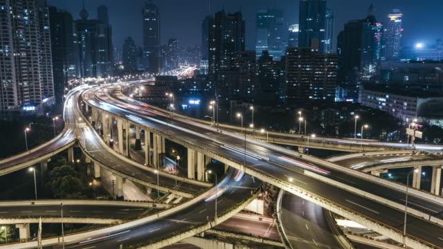 T/L TU City Traffic of Shanghai at Night / Shanghai, China