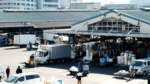 街の東京の魚市場 - トラック点の映像素材/bロール