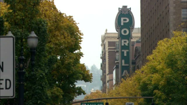 city trees in fall foliage w/ vintage neon sign 'portla' parallel to building - portland oregon fall stock videos & royalty-free footage