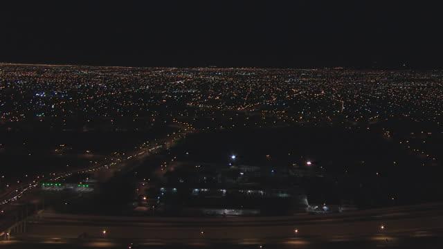 WS AERIAL City under moon / El Paso, Texas, United States