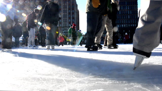 hd - city urban ice skating ring quebec - ice skater stock videos and b-roll footage