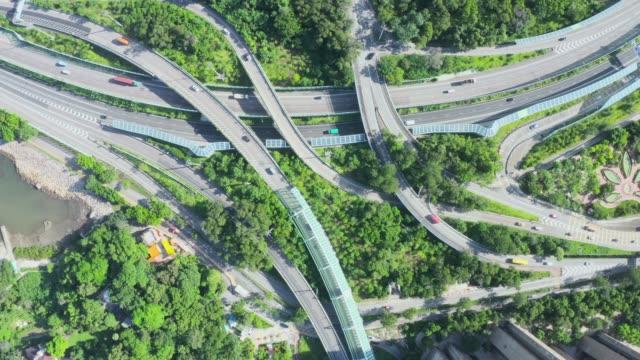 vidéos et rushes de circulation de viaduc de ville au matin, route de tolo, district de tai po, hong kong - explosion démographique
