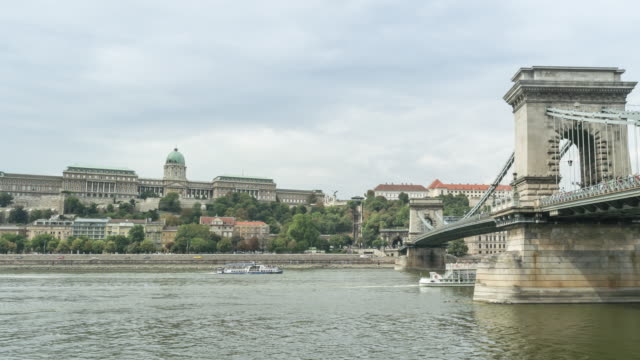 tl: city view around danube river that consisted of royal palace and chain bridge in budapest, hungary - royal palace of buda stock videos & royalty-free footage