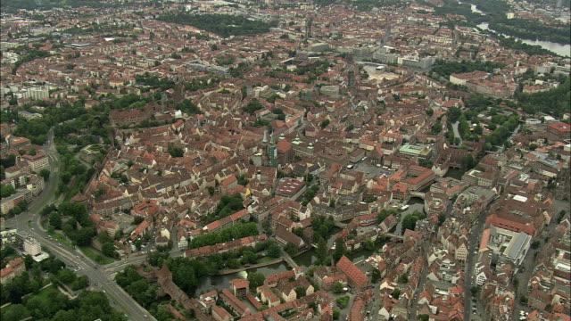 aerial city view, nuremberg, bavaria, germany - nuremberg stock videos & royalty-free footage