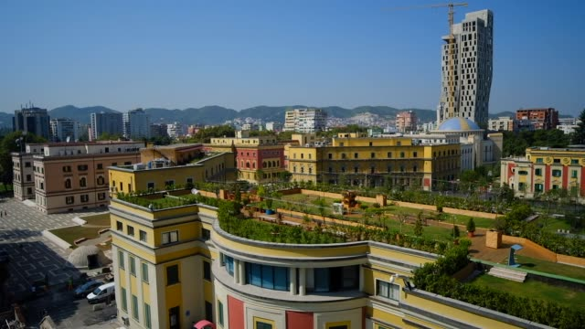 city view of tirana - albania stock videos & royalty-free footage