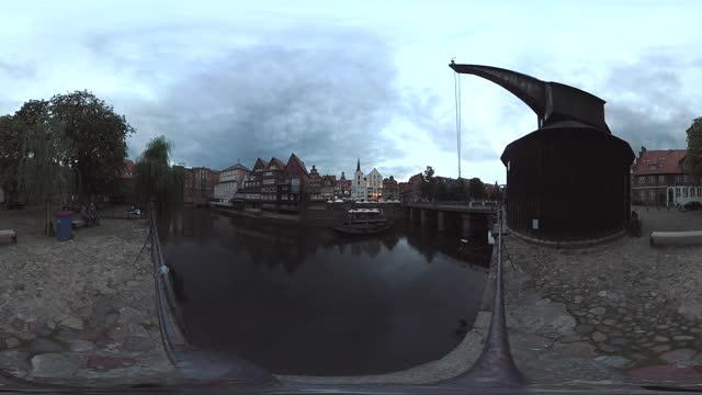 vr360, city view old town lüneburg - リューネブルグ点の映像素材/bロール
