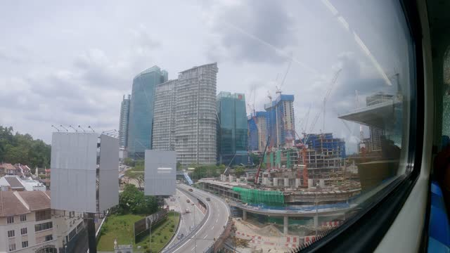 city view through window from monorail transportation - monorail stock videos & royalty-free footage