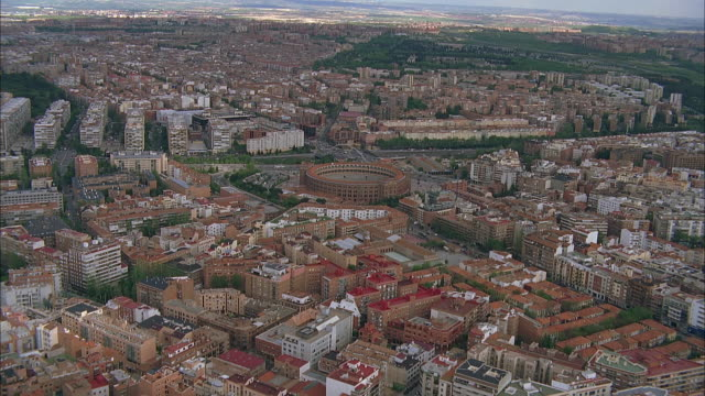 aerial city view with bull fighting arena, madrid, spain - madrid stock videos & royalty-free footage