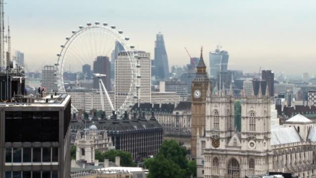 WS City view with international landmarks / London, England, United Kingdom
