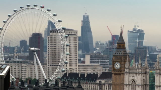 ms city view with international landmarks, westminster / london, england, united kingdom - millennium wheel stock videos & royalty-free footage