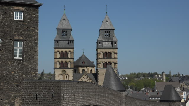 city wall and church of the sacred heart of jesus in mayen eifel rhineland-palatinate, rheinland-pfalz germany, deutschland - deutschland stock videos & royalty-free footage