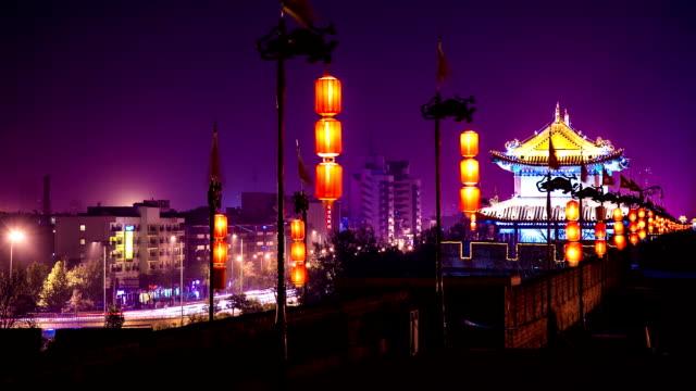 city wall of xi'an at night
