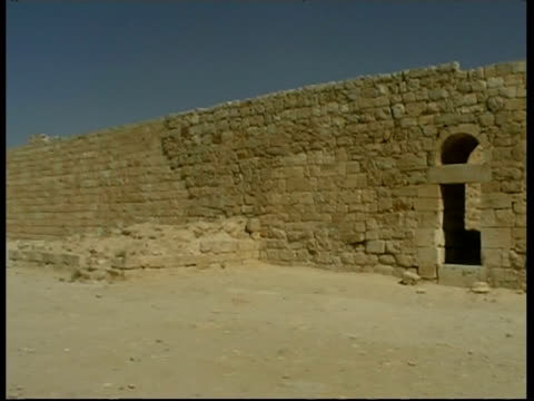 city walls of ancient nabataean city ovdat, israel - stone material stock videos & royalty-free footage