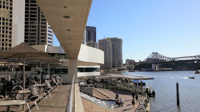 city waterfront at riparian plaza brisbane, queensland, australia, southern hemisphere - southern hemisphere stock videos & royalty-free footage