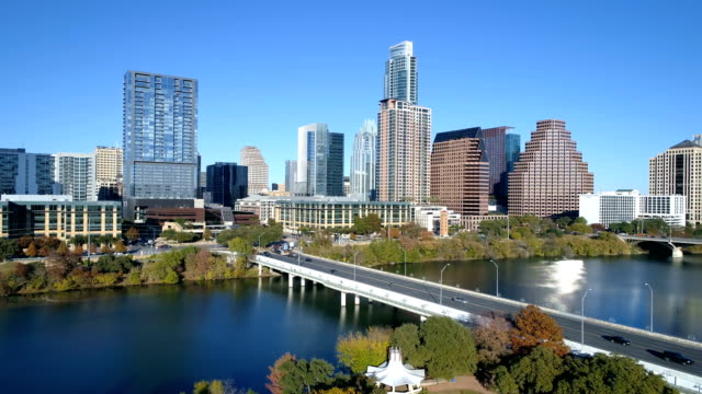 City with Lake and Water front Skyline Cityscape view Austin , Texas sunny days in Fall Autumn Winter Collection