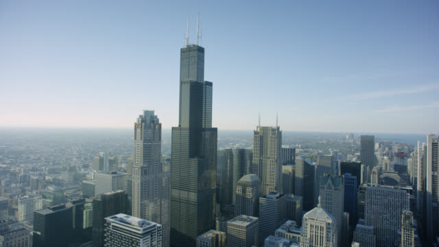 ws pov city with willis tower - willis tower stock videos and b-roll footage