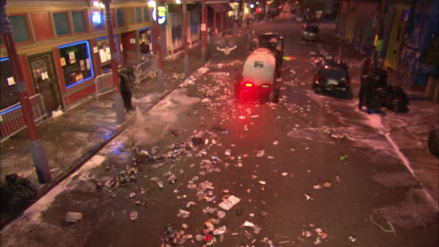 city workers clean up bourbon street after mardi gras in new orleans. - new orleans mardi gras stock videos and b-roll footage