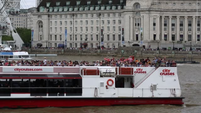 citycruises millenium of peace tourist boat on the river thames in london, uk. - barge stock videos & royalty-free footage