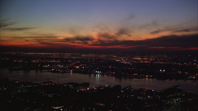 aerial ws cityscape after sunset / manhattan, new york, usa - 1994 stock videos and b-roll footage