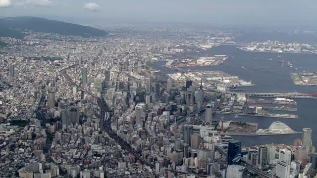 AERIAL, Cityscape Along Port Of Kobe, Japan