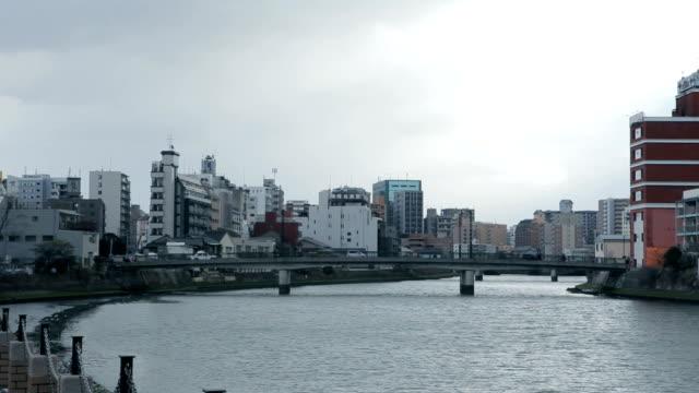 Vista da Cidade, ao longo do rio Naka de Fukuoka, Japão
