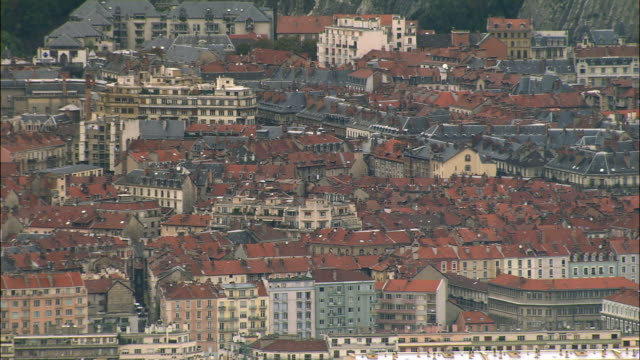 aerial ws cityscape and apartments in city center / grenoble, france - grenoble stock-videos und b-roll-filmmaterial