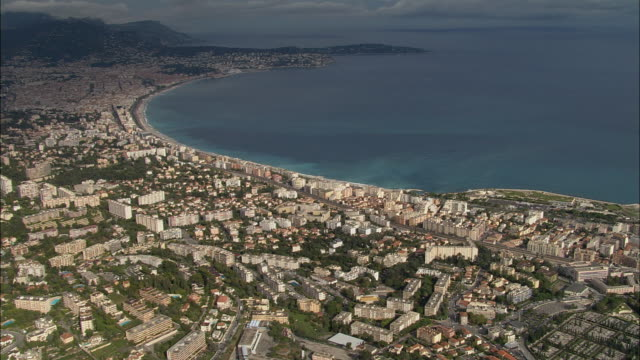 AERIAL Cityscape and coastline of Bay des Anges/ Nice, France