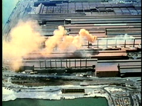 stockvideo's en b-roll-footage met montage, cityscape and factories, 1960's, detroit, michigan, usa - 1960 1969