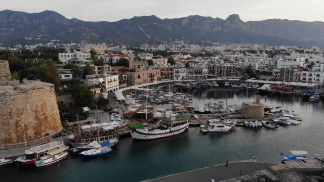 cityscape and marina of kyrenia, cyprus - republic of cyprus stock videos & royalty-free footage